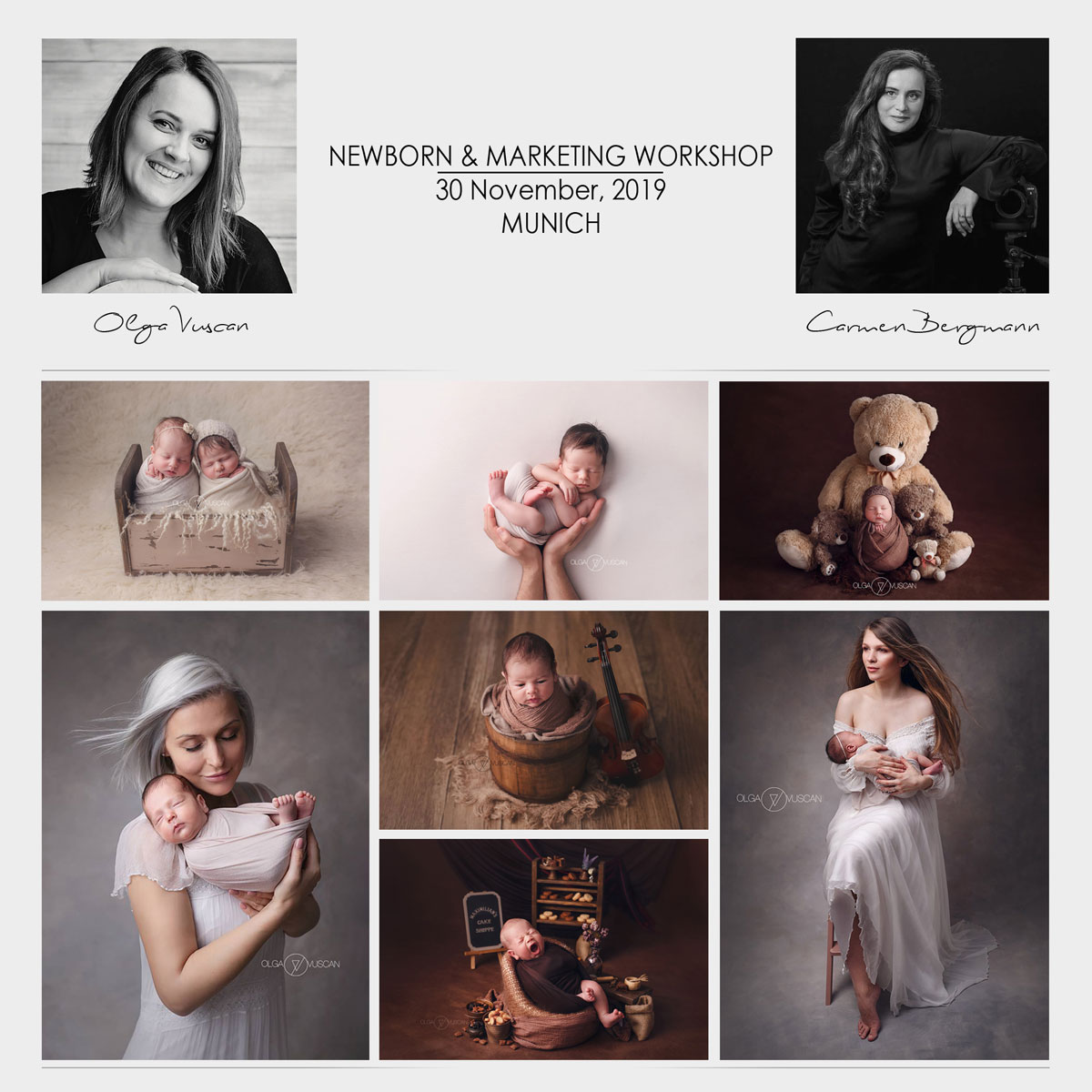 Carmen Bergmann Studio in Munich organizes Newborn Photography and Marketing Workshop by Olga Vuscan and Carmen Bergmann