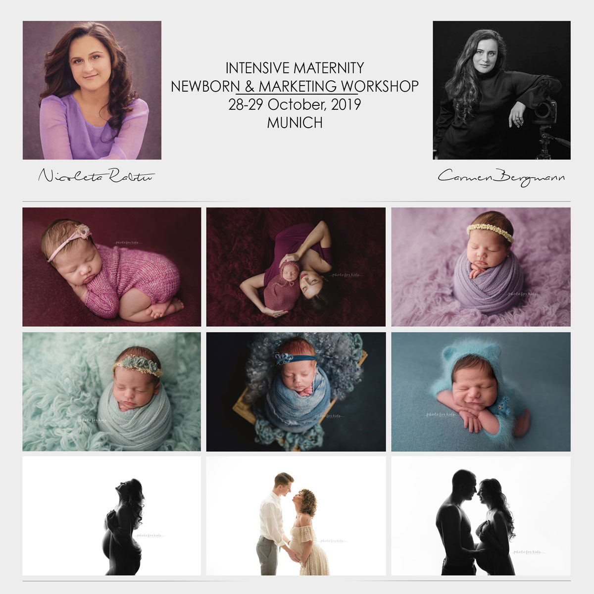 Newborn Maternity Photography and Marketing for Photographers Workshop Carmen-Bergmann Studio Munich by Nicoleta Raftu and Camern Bergmann