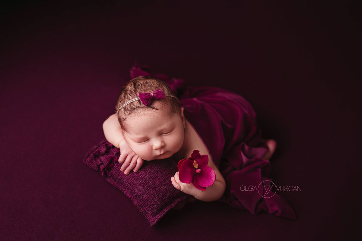 Olga Vuscan New Born Photographer for Workshops by Camen Bergmann Studio new born girl in crimson ourfit sleeps on a pillow