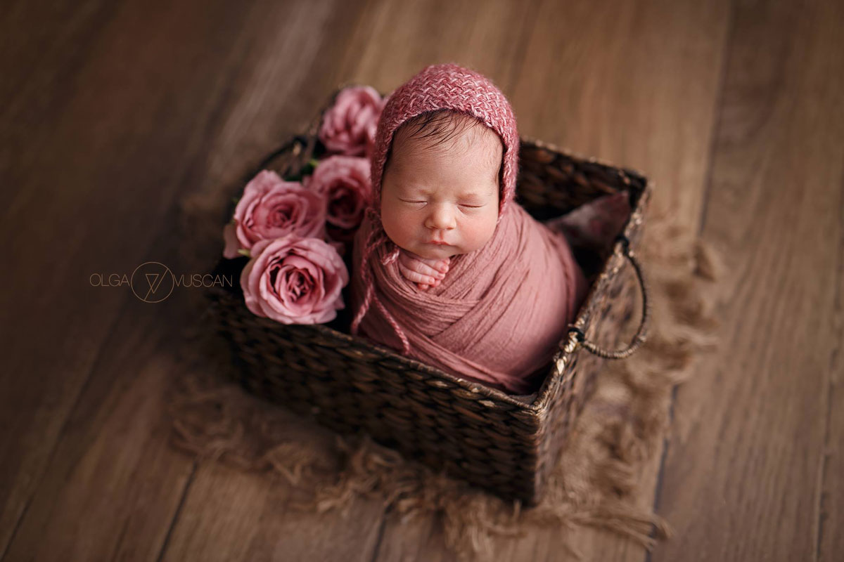 Olga Vuscan New Born Photographer for Workshops by Camen Bergmann Studio new born in pink outfits sleeps by pink flowers
