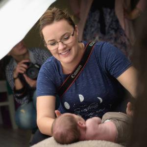 Olga Vuscan New Born Photographer for Workshops by Camen Bergmann Studio settig up the scene